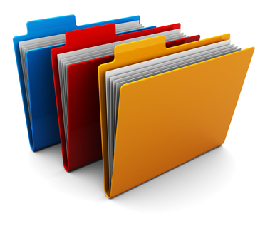 3d illustration of three colorful folders over white background